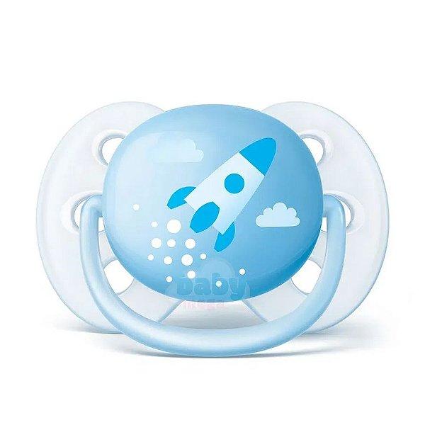 Chupeta Avent Unitaria Ultra Soft 0 a 6 Meses Foguete Azul