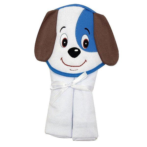 Toalha De Banho Kit Kolola Forrada Com Capuz Cachorro Bordado Azul
