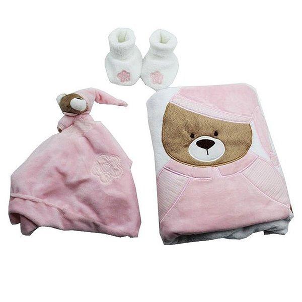 Kit Presente Bebe Zip Toys Urso Nino Rosa Manta Pantufa E Naninha