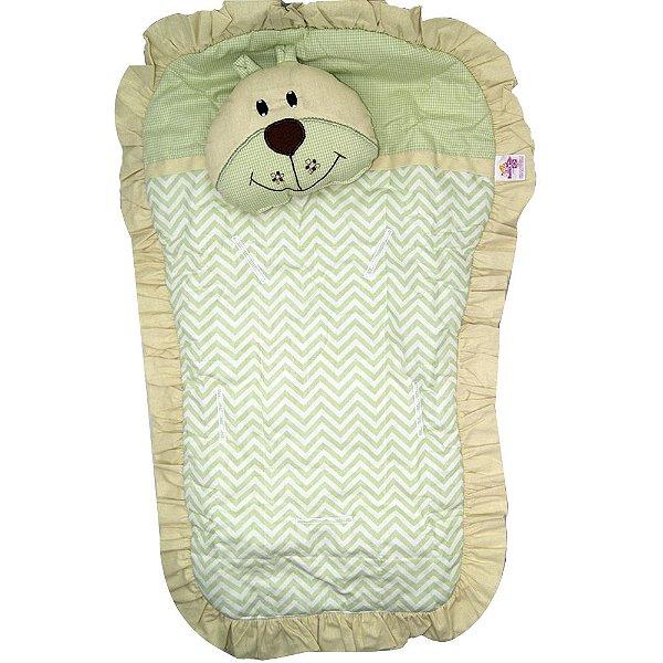 Capa Carrinho Bebe Bruna Baby Urso Verde Chevron