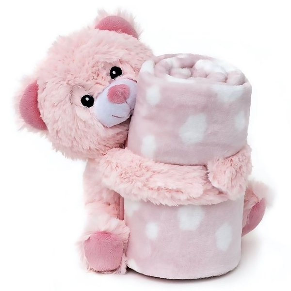 Manta Bebe Naninha Loani Urso Rosa