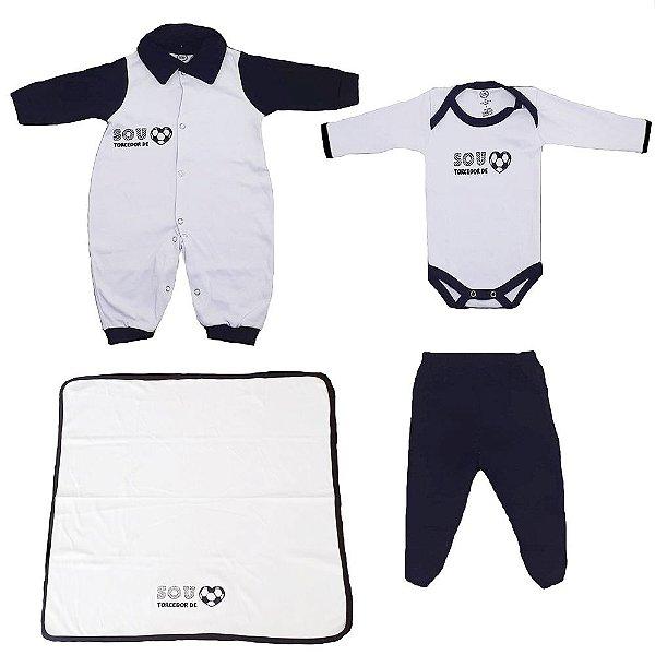 Kit Bebe Saída Maternidade Time Preto e Branco 4 Peças Unissex