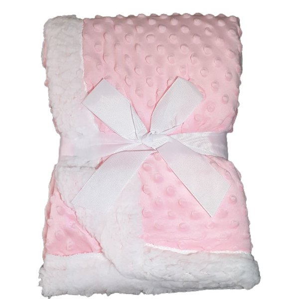 Manta Bebe Cobertor Soft Microfibra Com Sherpa Relevo Rosa