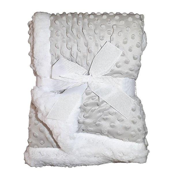 Manta Bebe Cobertor Soft Microfibra Com Sherpa Relevo Cinza