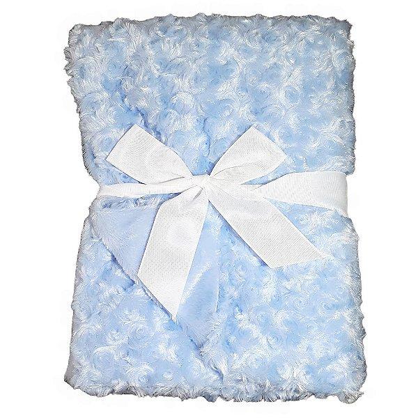 Manta Bebe Cobertor Microfibra Dupla Face 75X100cm Azul