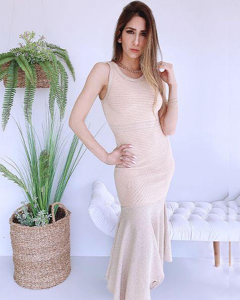 Vestido Tricot Bicos com Lurex  (Modal) - BLV