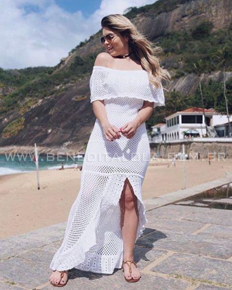 2248c3ac4 Vestido Longo Tricot Ciganinha com Babados e Fenda Verão 2019- KY