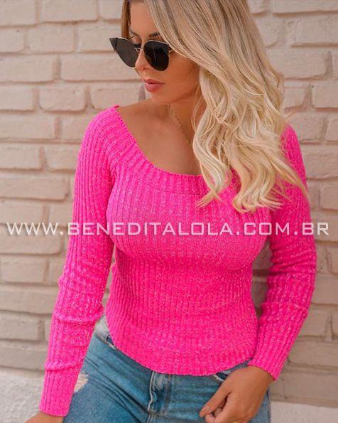 bbef9d6960 Blusa Tricot Feminina Canoa Neon Inverno 2019 - Benedita Lola Tricot .