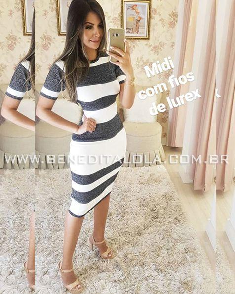 Vestido Tricot Modal Puro Luxo com Brilho (Lurex) Verão 2020- MD