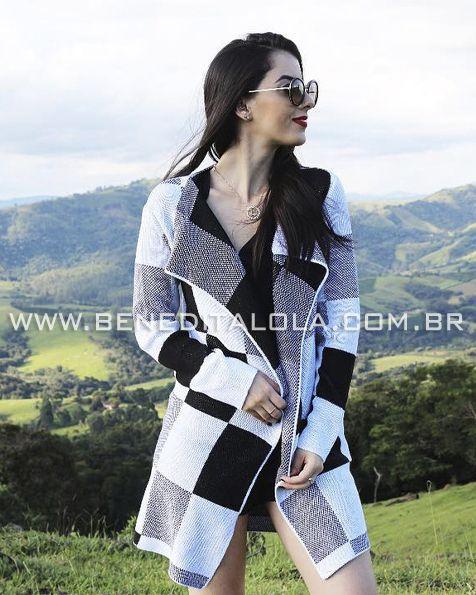 Kimono Tricot Quadrados Inverno 2020- AL
