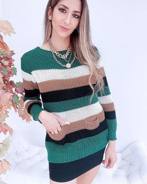 Blusa Tricot Bolsinhos Listra  - BLC