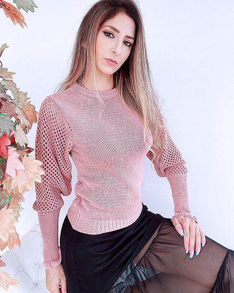 Blusa Tricot Bufante Furinhos Inverno 2021 - ALQ
