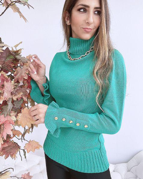 Blusa Tricot Modal com Botões Inverno 2021- JN