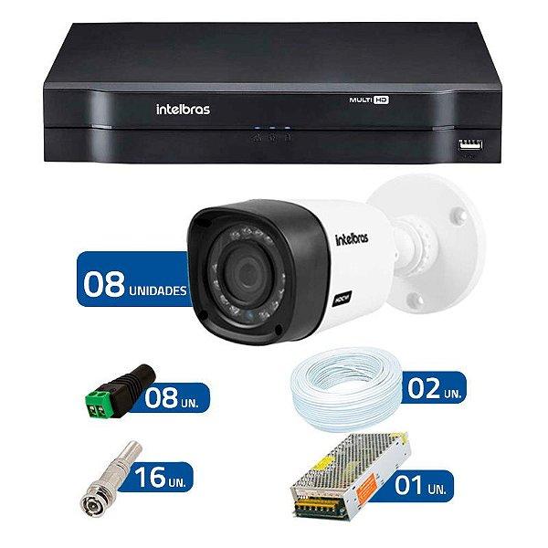 Kit CFTV 8 Câmeras Infra 720p Intelbras VHD 1010B G3 + DVR Intelbras Multi HD + Acessórios
