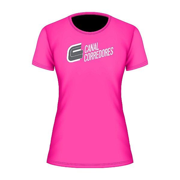 Camiseta Baby Look Treino Rosa Canal Corredores