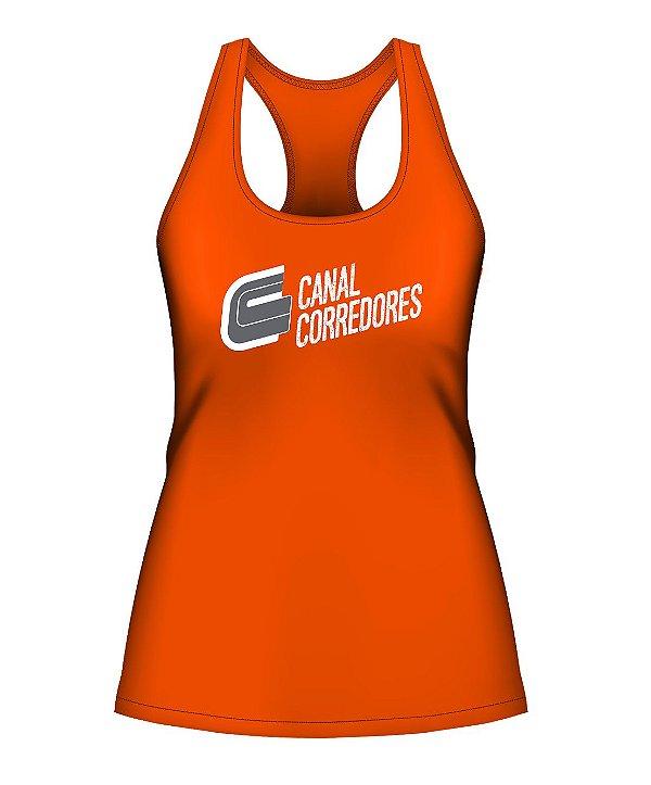 Camiseta Regata Feminina Laranja Canal Corredores