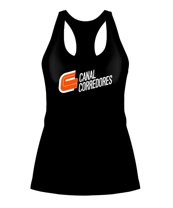 Camiseta Regata Feminina Preta Canal Corredores