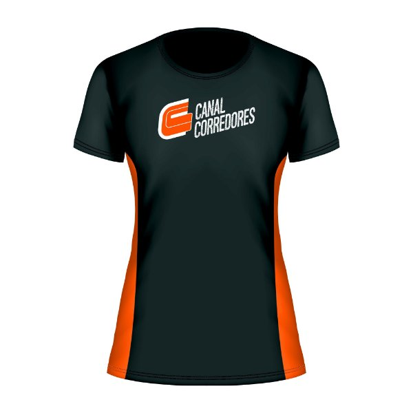 Camiseta Baby Look Preta e Laranja Canal Corredores