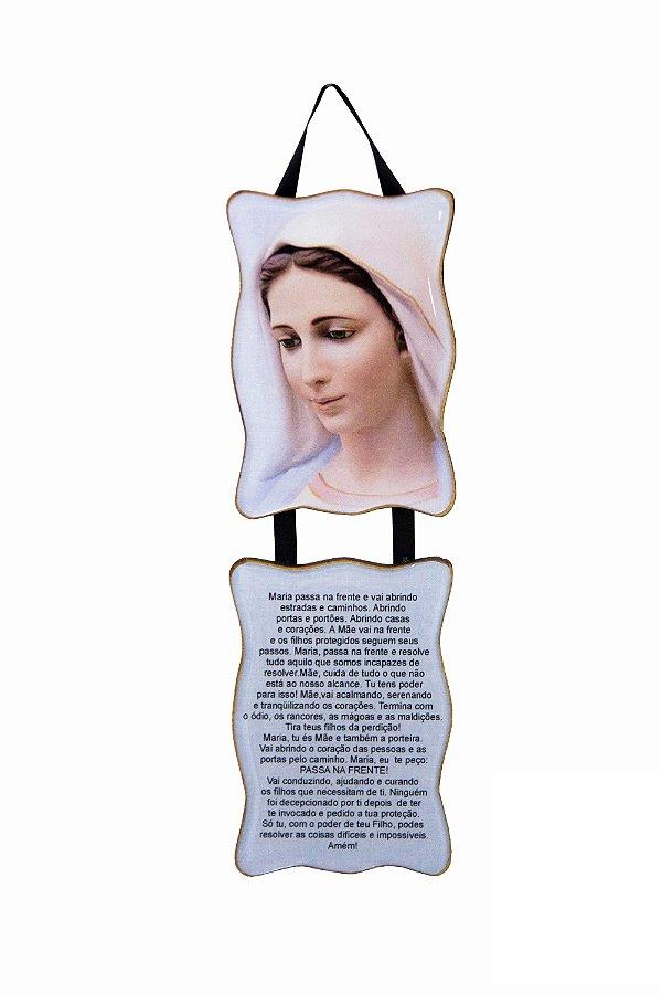 Adorno Rainha da Paz com Oração