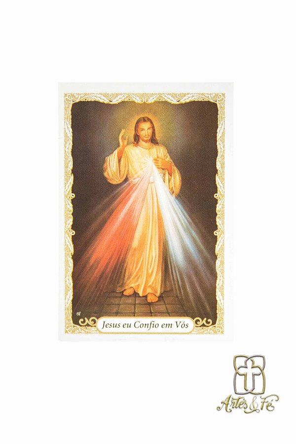 Santinho com oração Jesus Misericordioso - Pacote c/100