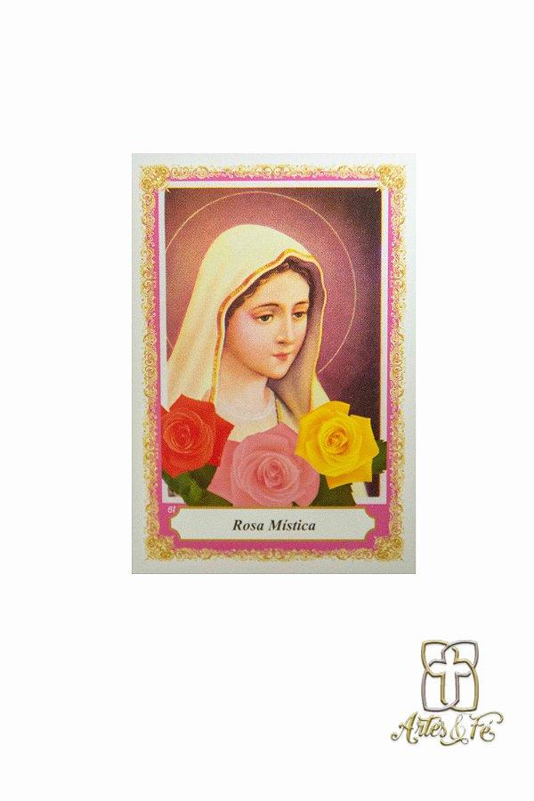 Santinho de oração de Nossa Senhora da Rosa Mística - Pacote c/100
