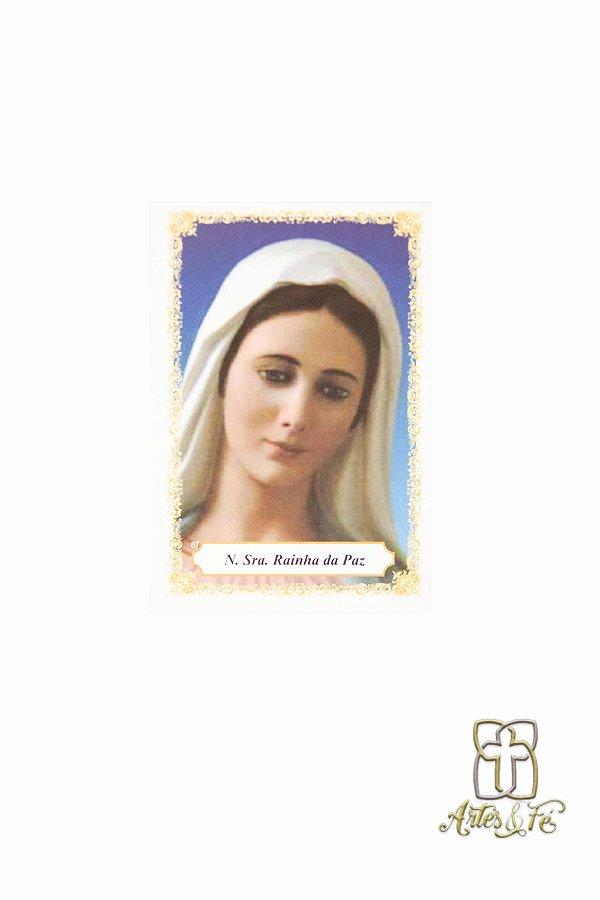 Santinho com oração  Nossa Senhora Rainha da Paz - Pacote c/100
