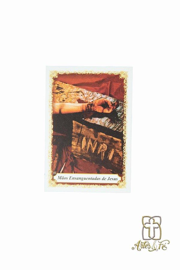 Santinho com oração Mãos Ensanguentadas de Jesus - Pacote c/100