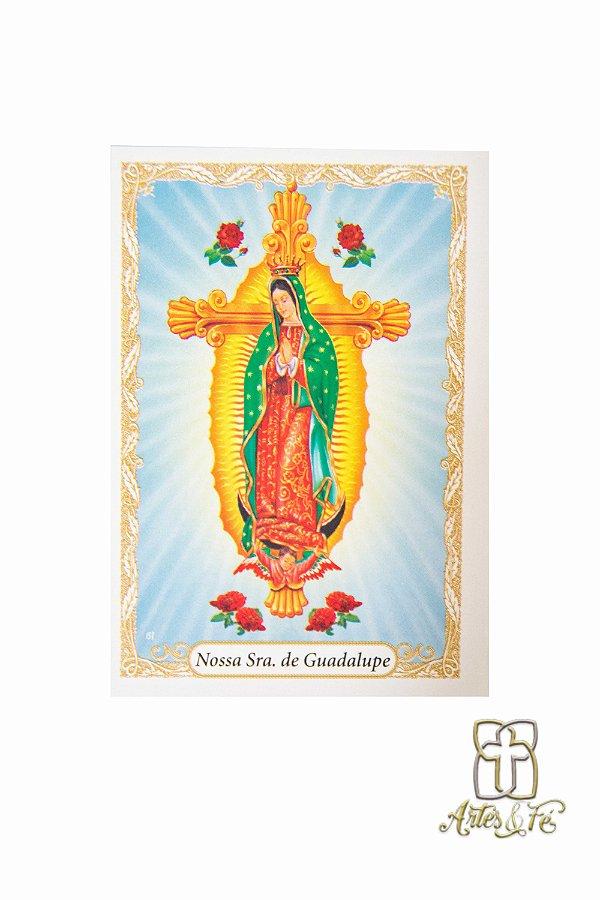 Santinho com oração Nossa Senhora de Guadalupe - Pacote c/100