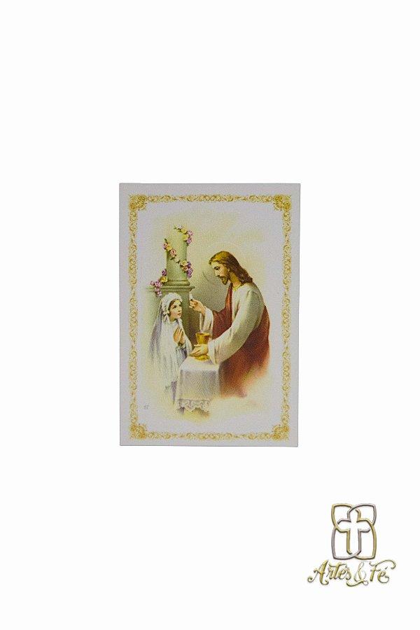 Folheto de Primeira Eucaristia Menina - Pacote c/100