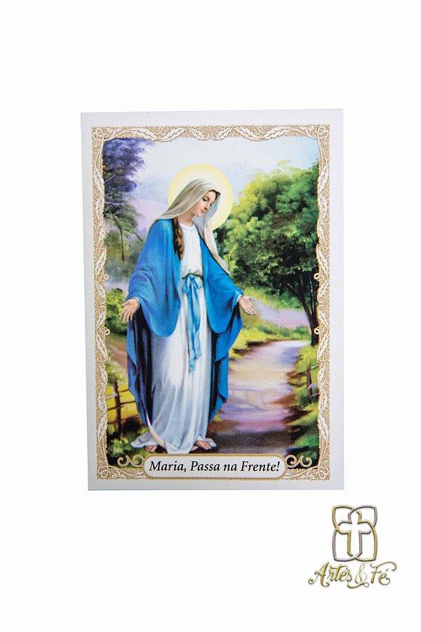 Santinho com oração Maria Passa na Frente - Pacote c/100