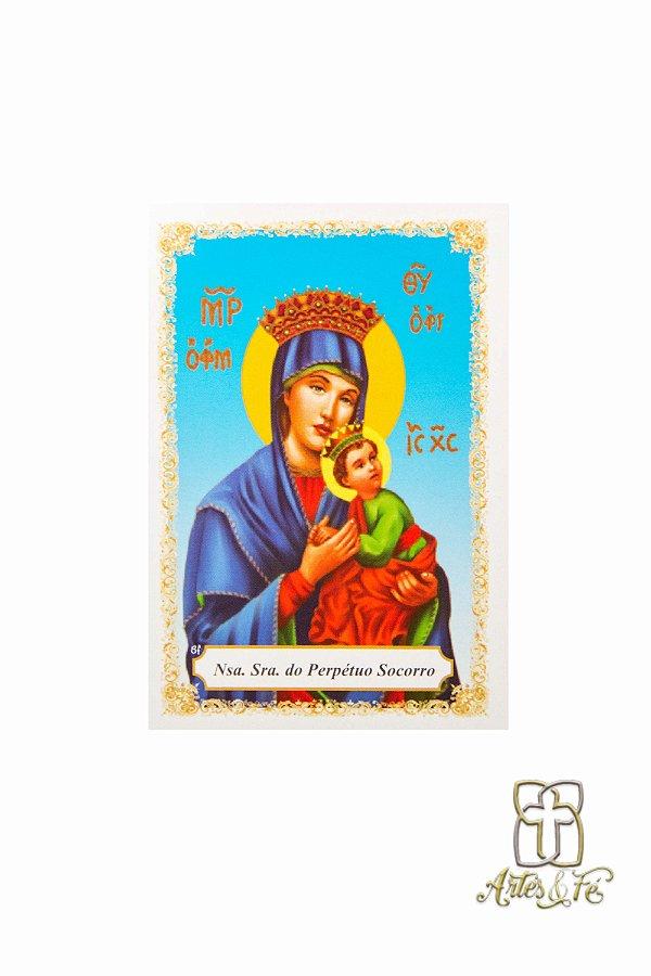 Santinho com oração Nossa Senhora do Perpétuo Socorro - Pacote c/100