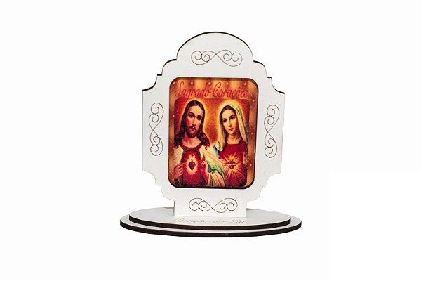 Adorno de mesa Sagrado Coração de Jesus e Maria