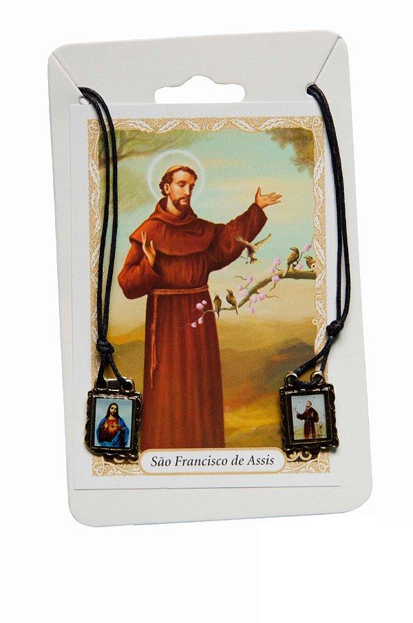 Escapulário Sagrado Coração de Jesus e São Francisco
