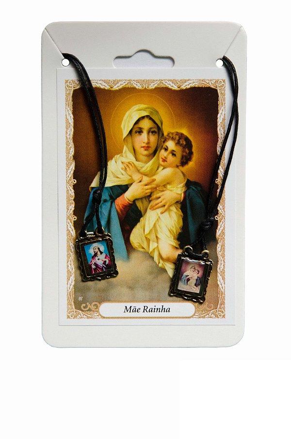 Escapulário Sagrado Coração de Jesus e Mãe Rainha