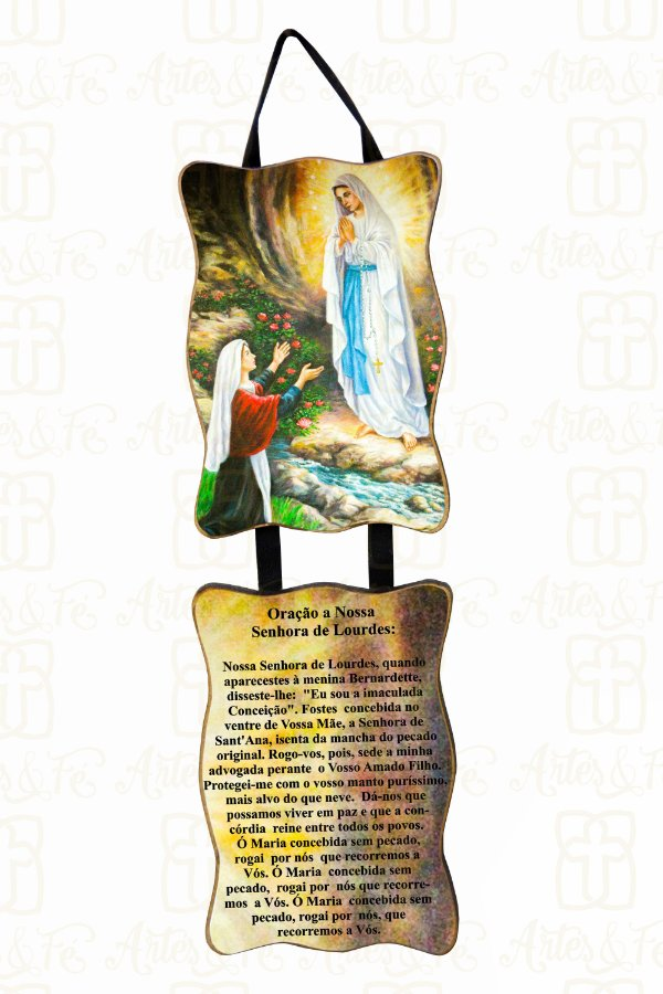 Adorno Nossa Senhora de Lourdes com Oração