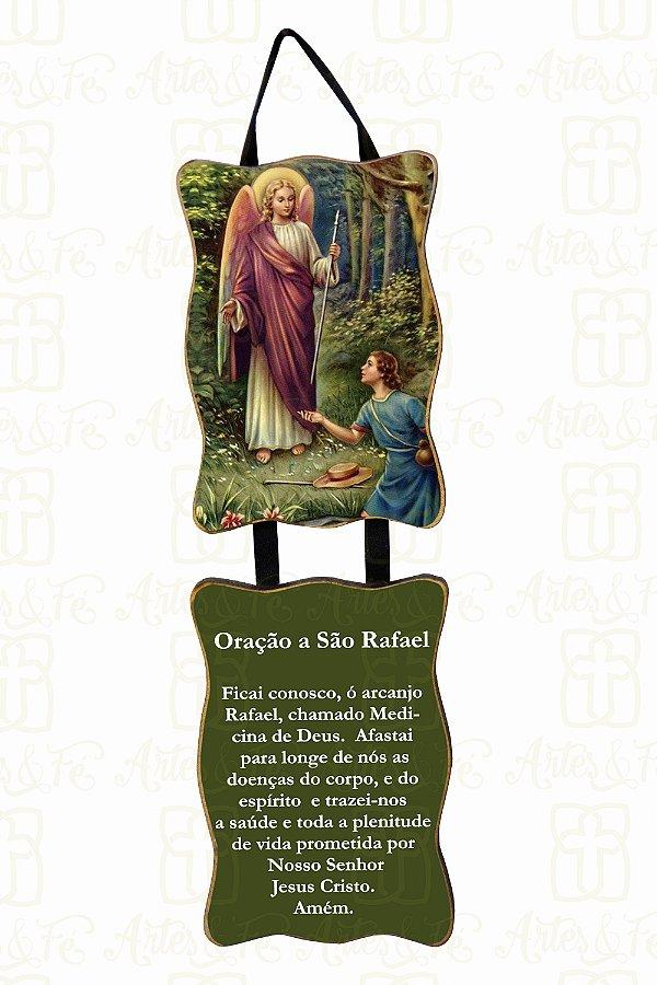 Adorno São Rafael com Oração