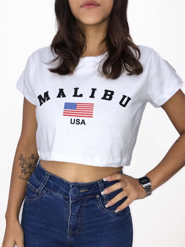 T-SHIRTS CROPPED ALGODÃO BRANCO MALIBU USA