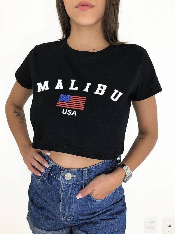 T-SHIRTS CROPPED ALGODÃO PRETO MALIBU USA