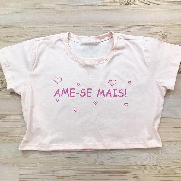 T-SHIRTS CROPPED ALGODÃO PESSÊGO AME-SE MAIS