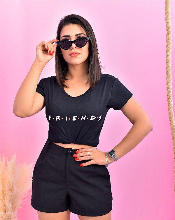 T-SHIRTS ALGODÃO FEMININA PRETO FRIENDS