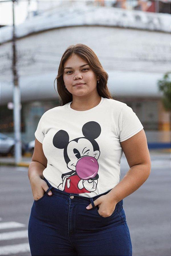 T-SHIRTS ALGODÃO PLUS SIZE BEGE MICKEY CHICLETE