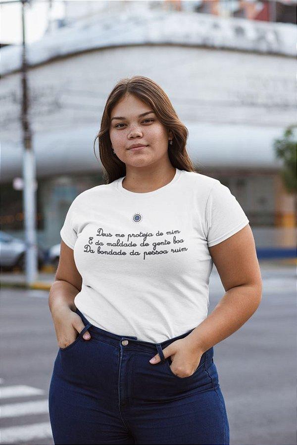 T-SHIRTS ALGODÃO PLUS SIZE BRANCO PROTEJA DE MIM