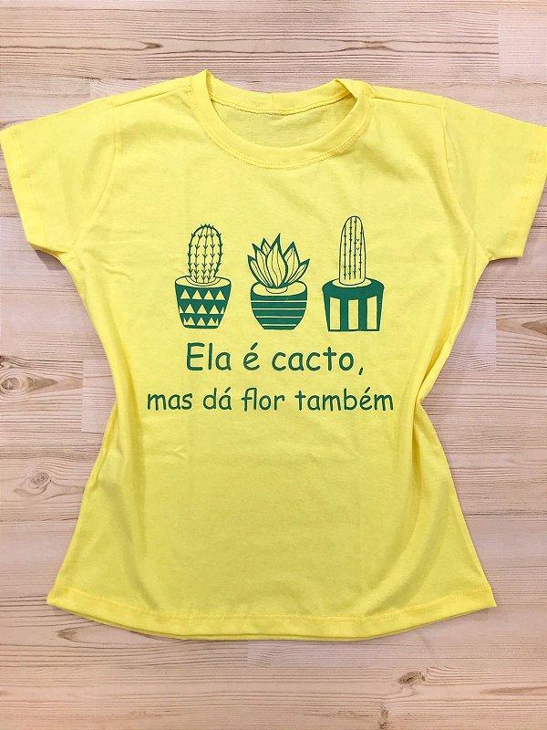 T-SHIRTS ALGODÃO FEMININA AMARELO ELA É CACTO