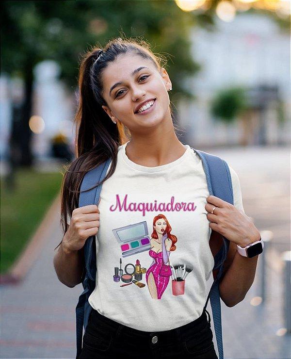 T-SHIRTS FEMININA MAQUIADORA VESTIDO ROSA