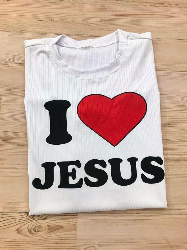 T-SHIRTS FEMININA CANELADA BRANCA EU AMO JESUS
