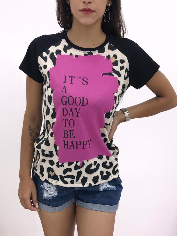 T-SHIRTS FEMININA RAGLAN PRETO IT'S A GOOD