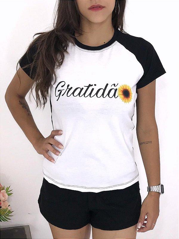 T-SHIRTS FEMININA RAGLAN PRETO GRATIDÃO GIRASSOL