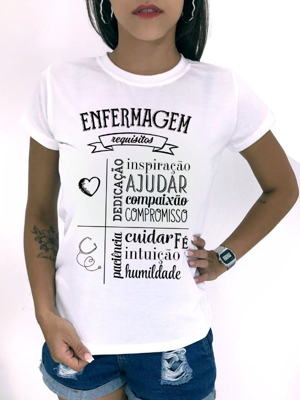 T-SHIRTS FEMININA POLIÉSTER OFF ENFERMAGEM REQUISITOS