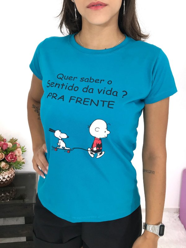 T-SHIRTS FEMININA ALGODÃO CARIBE PRA FRENTE