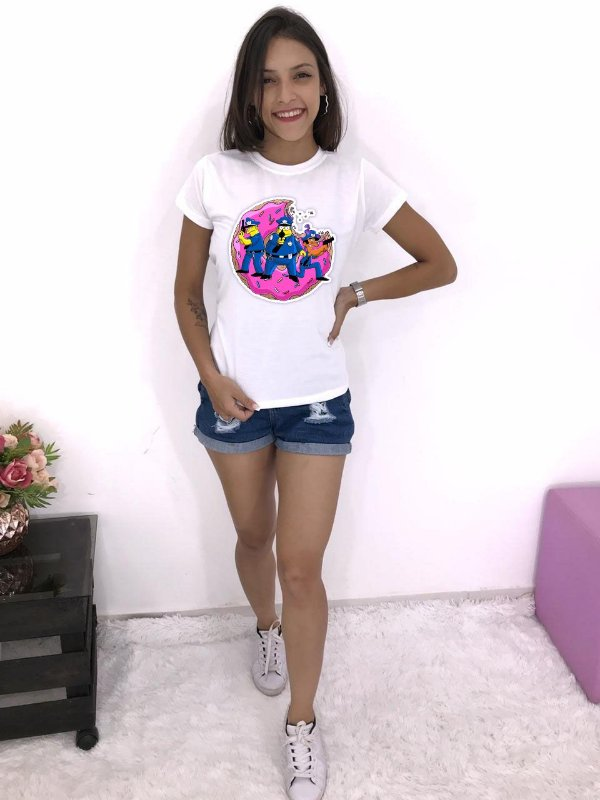 T-SHIRTS FEMININA POLIÉSTER OFF SIMPSONS POLICE DONUTS